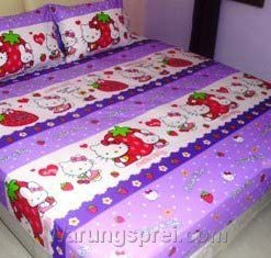 Sprei Hello Kitty Strawberry Ungu uk.200 t.25cm