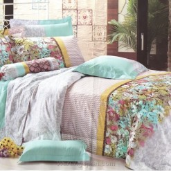 Bed Cover Set Bunga Hijau uk.100 t.25cm