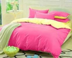Sprei Pink Kombinasi Kuning uk.200 t.25cm