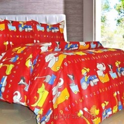 Sprei Panca Animal Train Merah Panca