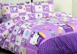 Sprei Panca Hello Kitty Kotak Ungu