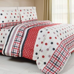 Sprei Panca Dot Strip Maroon