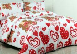 Sprei Panca Love Bear Merah