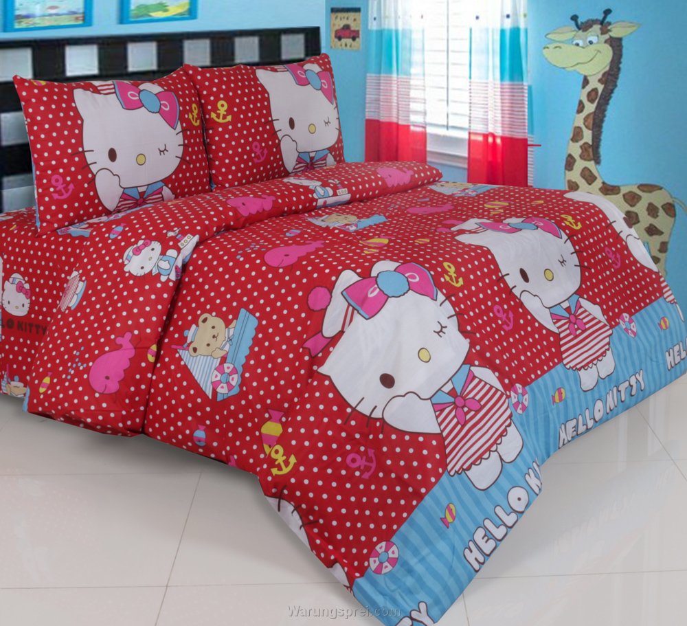 Sprei Panca Hello Kitty Dottie Merah Seprei 1