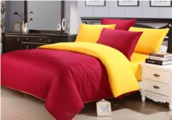 Sprei Polos Merah Kombinasi Kuning