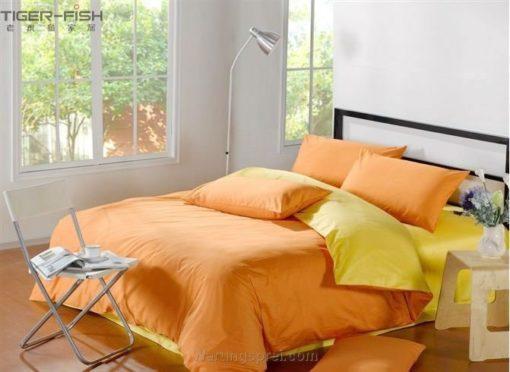 Sprei Polos Orange Kombinasi Kuning
