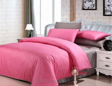 Sprei Polos Pink Kombinasi Abu
