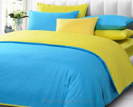 Sprei Polos Biru Muda Kuning